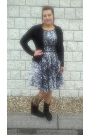black suede Rue 21 boots - black vintage dress thrifted vintage dress - black ca