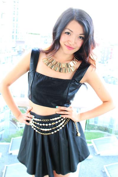 black leather cropped Forever 21 top - camel floral vest asos vest
