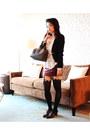 Black-sheinside-blazer-brown-speedy-25-louis-vuitton-bag