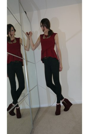 brick red burgundy wedge new look shoes - brick red new look jeans