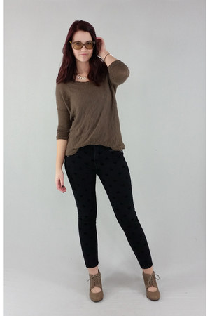 brown full tilt sweater - black Forever 21 pants - light brown Bonnibel heels