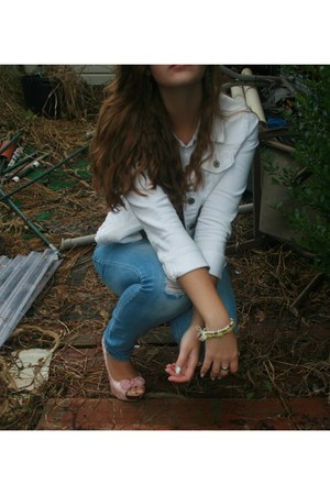 white jacket - light pink Bakers shoes - turquoise blue Mudd jeans