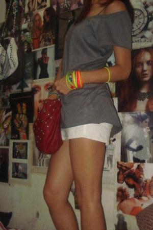 red studded Forever21 purse - white denim Billabong skirt - gray Mossimo t-shirt