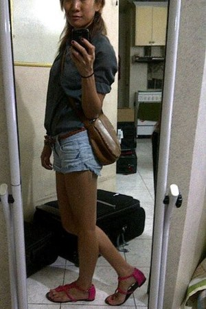 thrifted shirt - brown leather Nine West purse - denim short Mossimo shorts