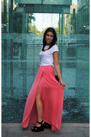 salmon Zara skirt - white H&M shirt - black Primark heels