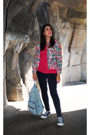 hot pink Zara jacket - navy Primark jeans - hot pink pull&bear shirt