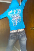 blue jacket - white belt - blue Almost Famous jeans