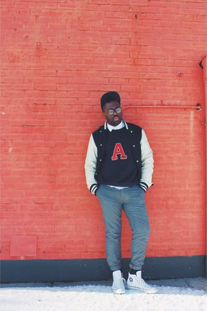 navy varsity Urban Outfitters coat - white pin stripe Converse sneakers