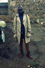Camel-trench-thrifted-vintage-coat-navy-polka-dot-h-m-shirt-tawny-h-m-pants