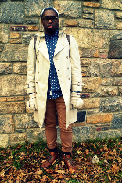 camel trench thrifted vintage coat - navy polka dot H&M shirt - tawny H&M pants