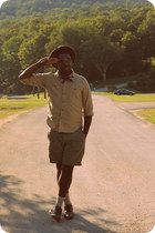 camel scout JCrew shirt - dark brown wingtip Urban Outfitters shoes