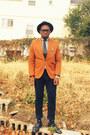 Black-vintage-hat-tawny-h-m-blazer-black-polka-dot-old-navy-tie