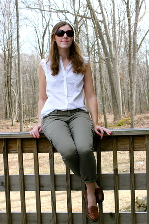 dark brown Call it Spring loafers - white Gap blouse - olive green ae pants