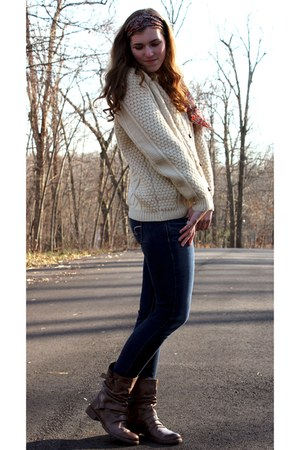 eggshell irish sweater - dark brown boots - navy jeans - ruby red vintage scarf
