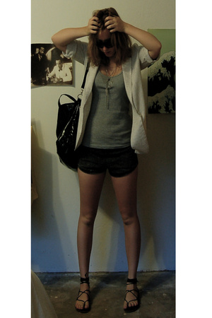 thrited blazer - American Apparel shorts - Forever21 purse - Dont Be A Hero neck