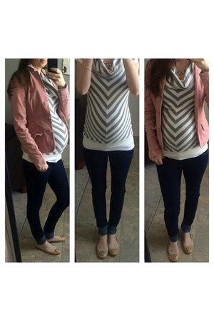 neutral shoes - blue H&M jeans - light pink corduroy American Eagle blazer