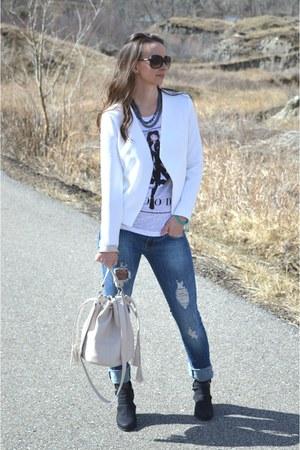 white Forever 21 blazer - black cutout asos boots