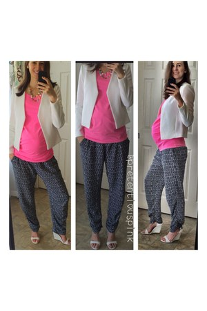 white white wedges shoes - white H&M blazer - hot pink H&M shirt