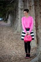 white topaz Anzie accessories - bubble gum Jcrew sweater - black Chicwish skirt