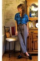 light brown menswear banana republic pants - blue vintage blouse