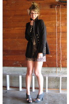 brocade modcloth coat - printed Anthropologie shorts - grey modcloth heels