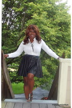 faux leather kohls skirt - The Limited shirt - Bakers heels