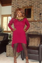 dark brown wilsons leather scarf - brick red Forever 21 dress