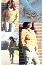 tan leopard print Steve Madden boots - light pink turtleneck The Limited shirt