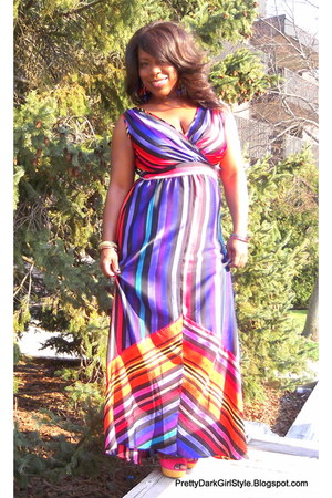purple maxi dress JC Penny dress - hot pink stripes JC Penny dress