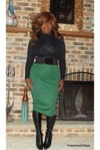 bodycon asos skirt - Nine West boots - crop top Charlotte Russe shirt