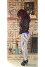 White-striped-forever-21-jeans-black-studded-forever-21-jacket