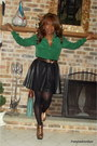 Dark-brown-discovery-boots-black-h-m-skirt-dark-green-thrift-blouse