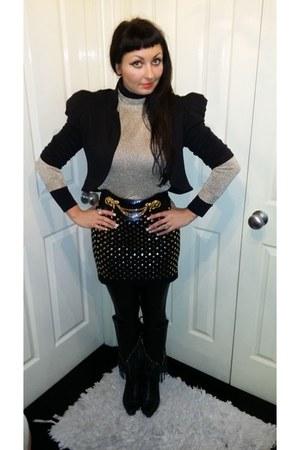 Jane Norman belt - new look jacket - brick red Forever 21 skirt
