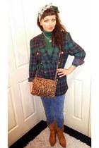 animal print Primark bag - acid wash Primark jeans - tartan vintage blazer