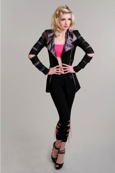 black slashed sleeve Pretty Disturbia jacket