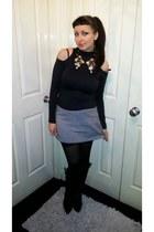 90s vintage vintage skirt - knee high boots Prada boots
