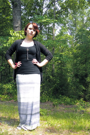 black Mossimo top - black Mercer & Madison top - periwinkle Anne Klein skirt - c