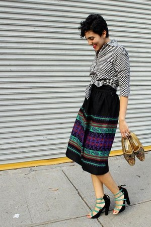 gingham searle blouse - wool vintage skirt - suede Zara heels