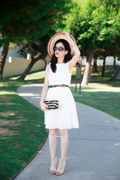 white Tommy Hilfiger dress - ruby red Tommy Hilfiger hat - navy J Crew bag
