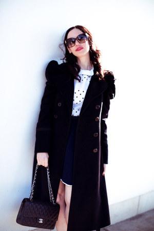 navy storets skirt - black Juicy Couture coat - black Chanel bag