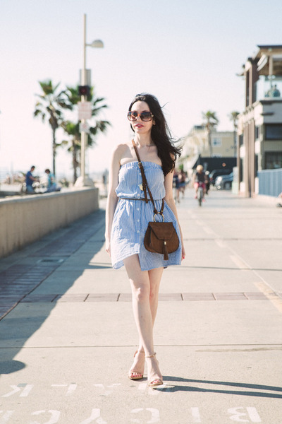 brown Nasty Gal bag - sky blue asos dress - brown Gucci sunglasses