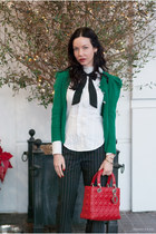 ruby red christian dior bag - white BCBG blouse - black BCBG pants
