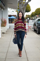 brown Tommy Hilfiger sweater - brown calvin klein boots - navy J Crew jeans