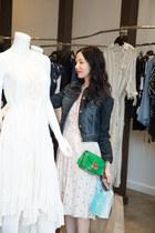 ivory Anthropologie dress - navy Anthropologie jacket - green Furla bag