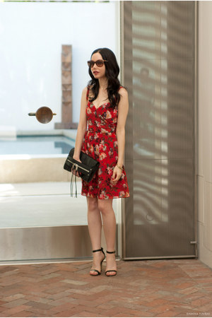 ruby red The Kooples dress - black milly bag - black Ava & Aiden sandals
