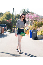 black rag & bone sneakers - green Furla bag - navy abercrombie and fitch shorts