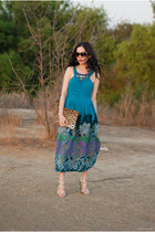 gold Samantha Wills bracelet - turquoise blue Anthropologie dress