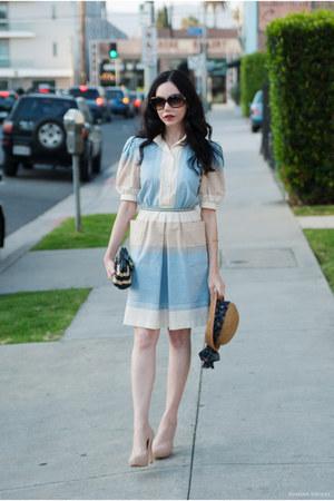 sky blue Shareen Vintage dress - navy JCrew bag - beige Pour La Victoire pumps