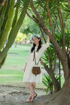 white GoodNight Macaroon dress - brown Nasty Gal bag