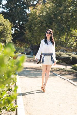 white Ralph Lauren blouse - navy JCrew bag - ivory Ralph Lauren shorts